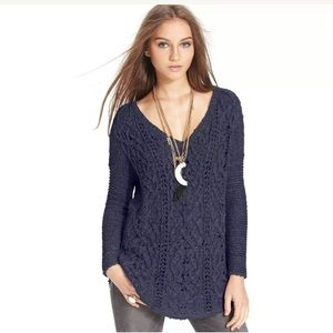 Free People Open V neck Sweater Size XS Cable